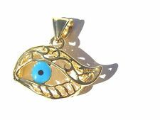 GOLD FILLED EYE SHAPE ITALIAN MURANO DESIGNED LUCKY EVIL EYE  PENDANT NECKLACE