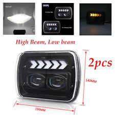 7'' SUV Off Road Car Square Headlight 6000K Angel Eye Work Light Bulbs Universal