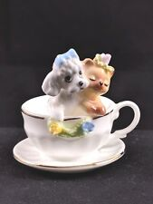 Adorable Vintage Napcoware Bone China Teacup With Puppy Kitten Dog Cat Figurine