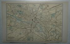 1892 Antique Ordnance Gazetteer Bartholomew LARGE Map/Plan of Glasgow - Scotland