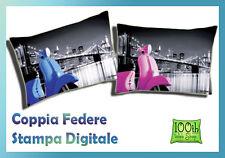 COPPIA FEDERE 52X82 100% COTONE STAMPA DIGITALE BLU FUCSIA MOTO BROOKLIN 0118
