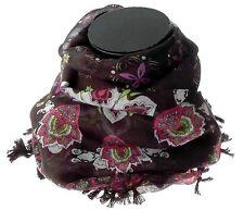 Ethnic Batik Style Floral Print Black Scarf Hijab Headscarf Bandana Neckerchief