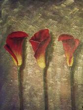 Astratto rosso Tulipani Fiori Floreale Grande dipinto a olio su tela moderno e contemporaneo