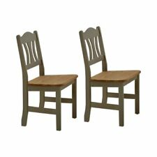 Set of 2 Solid Pine Wood Dining Chair Rustic Chairs Dinner Table Seat - Grey