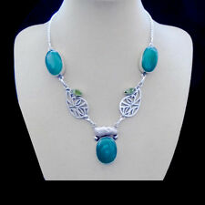 Chrysopras, Biwa Perle & Peridotquarz, grün Halskette, Collier, Silber plattiert