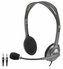 Headphones with Boom Mic for Skype PC/Mac gaming Headset Logitech H110 2X 3.5mm