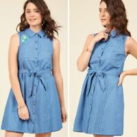 Modcloth NEW Shared Vision Chambray Embroidered Shirt Dress Size Small