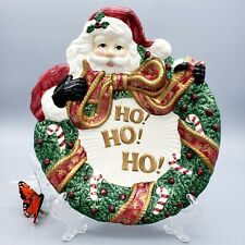 "Fitz & Floyd Santas Cookie Plate Ho Ho Ho Porcelain 9-1/2"" vintage Collector"