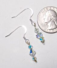 """Dangle Column 3 Bicone AB Crystals Pierced Earrings, ST French Hooks, 1 3/8"""""""