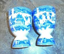2 Made in Japan Blue Willow Double Egg Cups 4 Inches Tall EUC!
