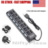 7 Port USB 2.0 Hub Hi-Speed 480 Mbps ON/OFF Switch + Power Adapter for PC Laptop