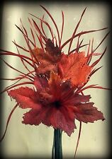 "NWT Autumn Fall Orange & Maroon Maple Leaves,Red Feathers, Blk Bud Vase 17""T"
