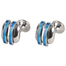 PENROSE Di Stilista Londra GEMELLI Bermondsey argento e blu-Rrp £ 98 #CL 48
