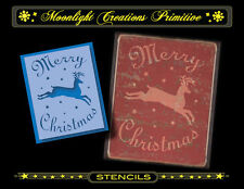 Primitive Stencil~Vintage~A MERRY CHRISTMAS REINDEER~Magical Star Deer at Night