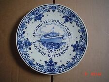 Superb Delft Hanging Wall Plate AROUND THE WORLD CRUISE FLAGSHIP ROTTERDAM