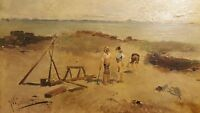 ANTIQUE 19th CENTURY JOSE MARIA JARDINES MEDITERRANEAN BOYS SPAIN OIL PAINTING