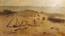 ANTIQUE 19th CENTURY JOSE MARIA JARDINES MEDITERRANEAN BOYS SPAIN OIL PAINTING
