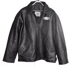 Men's NEW Ford Logo Black Leather Jacket Size: MEDIUM