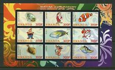 Rwanda Disney Characters & Fishes Imperforate Sheet Of 9 Mint Never Hinged