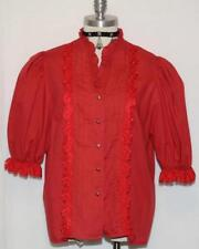"ALPHORN - RED Eyelet RUFFLE LACE German Women Dress Skirt Dirndl BLOUSE/B46""/XL"