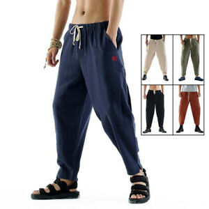 Linen Martial Arts Trousers Kung Fu Tai Chi Pants Knickers Loose Casual Uniform