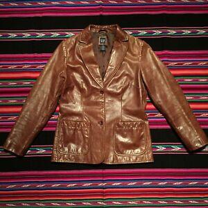 Vintage 90s GAP Genuine Soft Leather Blazer Jacket Brown Women's Small Boho