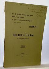 A S.E.Bertolini ministro delle colonie LETTERA APERTA DI G.B. DI VARMO Udine1913