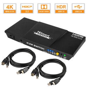 TESmart 2-Port HDMI KVM Switch Support HDMI 2.0 4K@60Hz HDCP 2.2 USB2.0