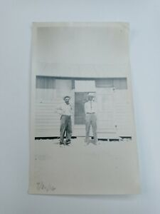 1900's Vintage Photograph Picture 3.5 x 5.5 Two Mature Men In Front of Building