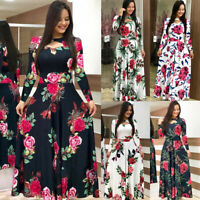 Plus Size Womens Ladies Long Sleeve Cocktail Party Prom Floral Long Maxi Dress