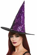 Reversible con lentejuelas Sombrero de bruja, Mujeres, púrpura y negro