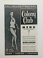 1950's Colony Club Burlesque Dinner Show Menu Los Angeles