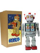 ROBOT ELECTRON GRIS. Grand robot vintage métal .. Superbe boîte. 33 cm