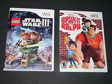 LEGO STAR WARS III + WRECK IT RALPH   (2 Games KIDS Nintendo Wii Lot)