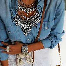 Rhinestones Crystal Gypsy Bohemian Turkish Boho Chunky Bib statement necklace