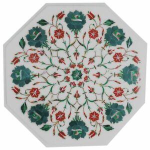 "12"" Marble corner Table Top semi precious stones floral Inlay handmade"