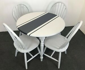Grey Set of French Country wood round Table & 4 Chairs hand painted UPCYCLED