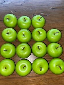 15 PCS Yellow Artificial Apples Fake Fruit Green for Home Kitchen Decoration