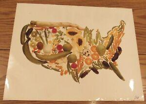 Vintage signed photograph United States map fruits/vegetables Arcimboldo 16x20