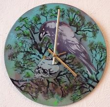 HEAVENS BASEMENT inspired wall clock. .spray paint art.. .recycled records