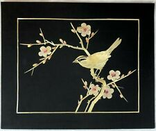 Vintage Asian Hand Cut Painted Wheat Stalk Silk Art Birds And Flowers Happiness