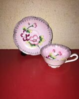 Hand Painted Pink Floral Tea Cup And Saucer Set Fern Japan