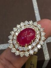 Pave 18.67 Cts Natural Diamonds Ruby Cocktail Ring In Fine Hallmark 14Carat Gold
