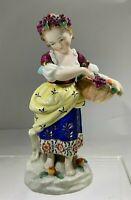"Antique Elegant  Edme Samson ""The Fruit Seller Girl"" Porcelain Figurine Germany"