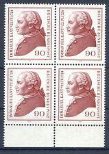 Federale mi-nr 806 4er blocco + Ur (90) - 250.geb. Immanuel Kant - ** POSTA fresco 1974