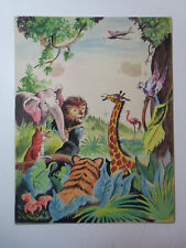 Vintage Children's Book Original Art - Painting WILD JUNGLE ANIMALS & AIRPLANE