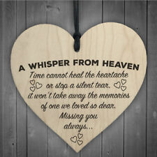 Wooden Heart Plaque A Whisper From Heaven Memorial Remembrance Bereavement