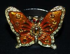 Hans Turnwald Jeweled Silverplated Ring Butterfly Napkin Ring, Orange