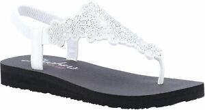 Skechers Meditation Floral Lover Summer Shoes Sandal Ladies in White/Silver