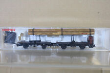 FLEISCHMANN 5223 K DB FLAT STAKE WAGON RUNGWAGEN SET with REAL LOG LOAD ng
